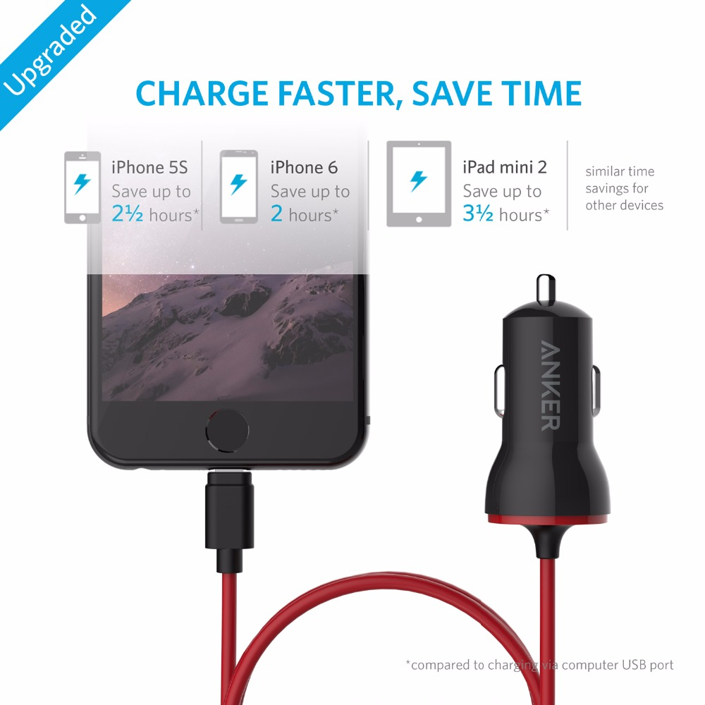 Anker 12w Usb Car Charger Drive With Mfi Certified Lightning Cable For Iphone 7 6s Plus Ipad Pro Air 2 Mini Etc